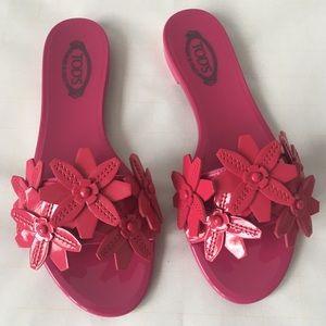 Tod's Pink Embellished Leather Slides Sz 5 $450